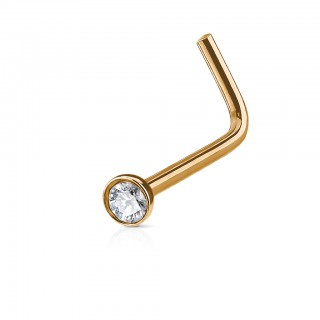 Coloured L-shaped nose piercing with clear jewel