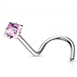 'Nose screw with coloured prong set square crystal