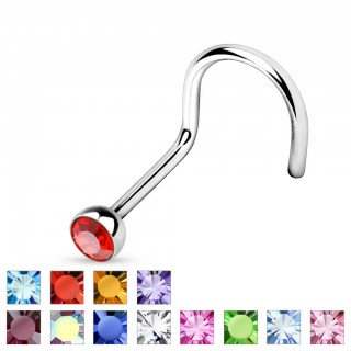 Nose screw with colourful gem