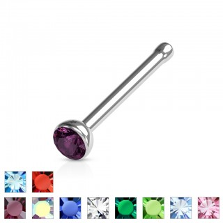 Nose piercing with coloured gem