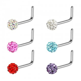 Nose stud with L bend and coloured ferido ball