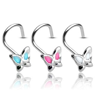 Nose piercing with butterfly and coloured wings