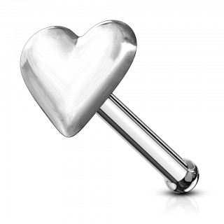 Protruding heart nose bone of silver steel