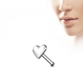 Silver nose jewellery with a puffy heart stud