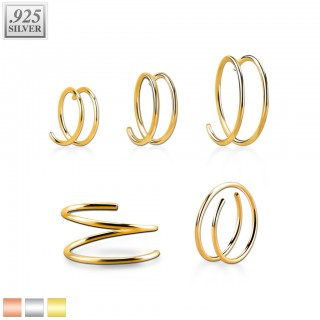 Coloured double spiral nose ring of .925 sterling silver
