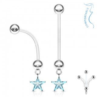 Maternity belly bar with coloured crystal star dangle