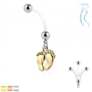 Pregnancy belly bar with dangling coloured baby foot