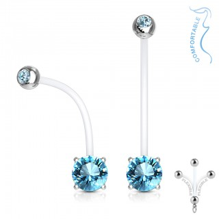 Double jeweled prong set pregnancy belly bars
