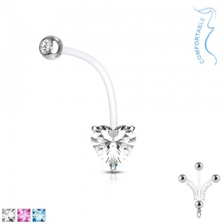 Heart crystal prong set bioflex pregnancy belly bar
