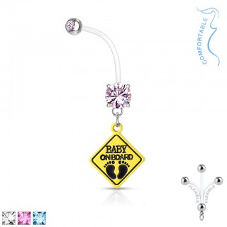 Belly bar with oval set crystal and 'baby on board' sign
