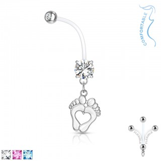 Belly bar with crystal and dangling baby feet