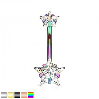 Double ended prong set star internally threaded belly bar