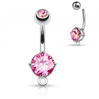 Belly bar with large gem and dangling O-ring