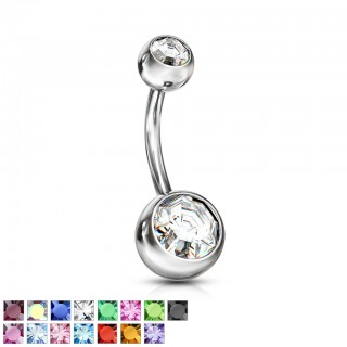 Belly button piercing with gem in each ball