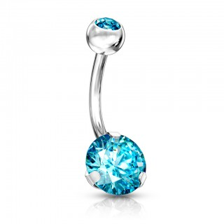 Silver belly bar with coloured prong set diamond
