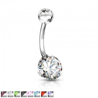 Steel belly button piercing with encased coloured gem