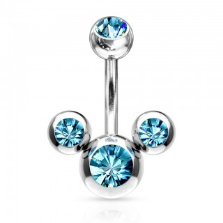 Belly ring with trio of beads and coloured jewels