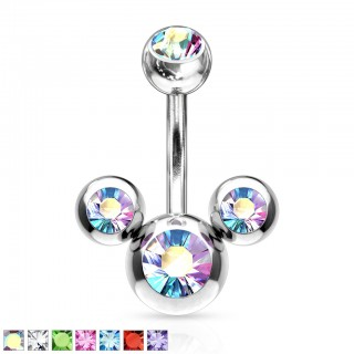 Belly bar with 'Mickey Mouse' crystals