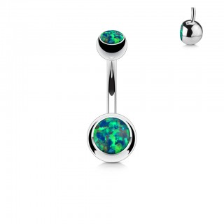 Steel belly bar with opal stone in both balls