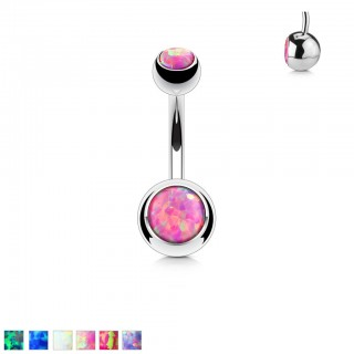 Stell belly button piercing with dual opal gems