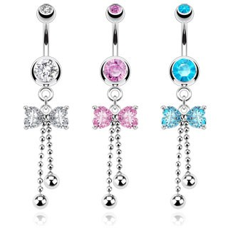 Belly bar with dangling ribbon and beads
