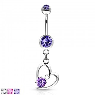 Belly bar with heart and diamond dangle
