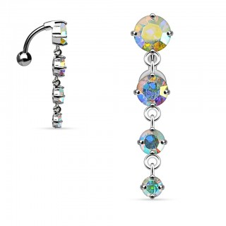 Four jeweled reverse belly bar