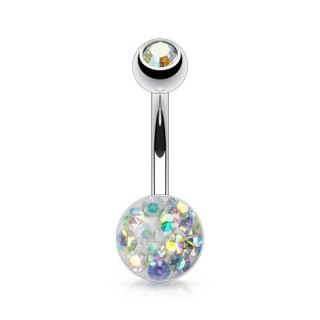 Belly button piercing with coloured ferido gems