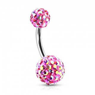 Belly button ring with Ferido crystalized balls - Pink/Rainbow