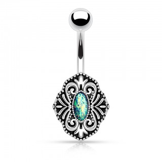 Belly bar with classic shield and crystalised opal replica