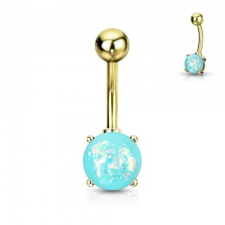 Gold belly piercing with colourful glimmering opal