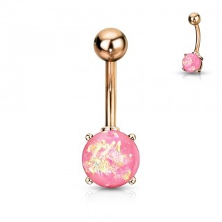 Rose gold belly button piercing with coloured opal gem