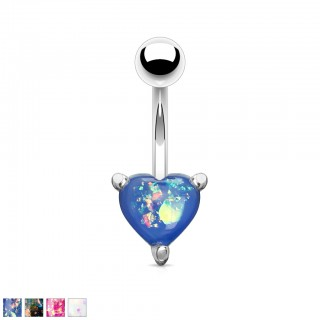 Belly bar with coloured glitter opal heart