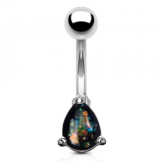 Belly bar with coloured glitter opal tear drop