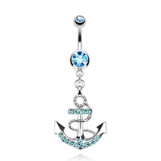 Belly bar with coloured gemmed anchor dangle