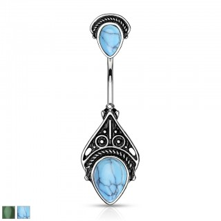 Vintage filigree belly bar with semi precious stone