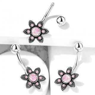 Pink opal centred blooming flower filigree decorated belly bar
