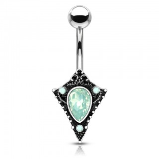 Green opal centred tribal shield belly bar