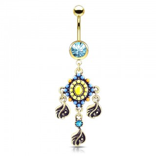 Tribal bead paved belly bar with filigree and crystal dangle