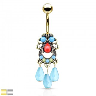 Turquoise set tribal filigree belly bar with dangling belly bar
