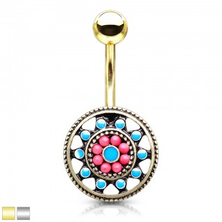 Turquoise enamel Aztec tribal sun belly bar with beads