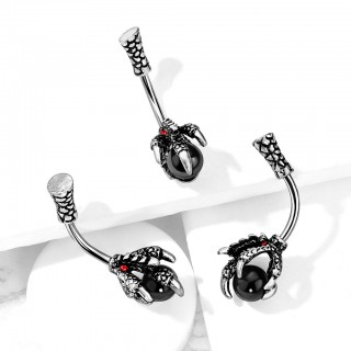 Scale pattern belly bar with dragon claw holding black ball
