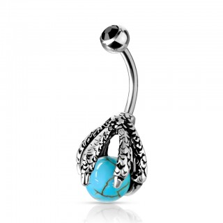 Crystal topped belly bar with dragon claw holding ball