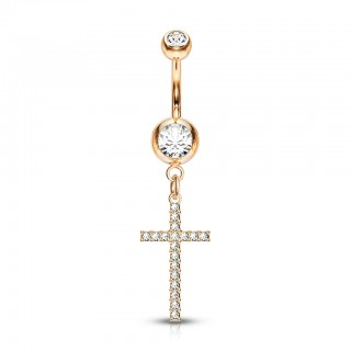Belly piercing with crystal paved cross dangle