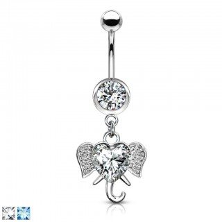 Dangling elephant shaped ornament adorned belly bar