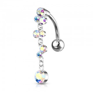 Top drop belly piercing with chain of crystals