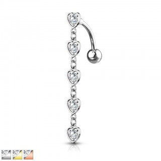 Resverse belly piercing with chain of heart crystals