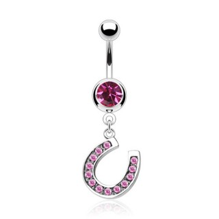 Belly bar with dangling horseshoe pendant