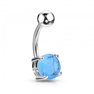 Belly bar with Turquoise stone