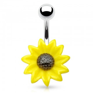 Belly button jewellery with acryllic sunflower